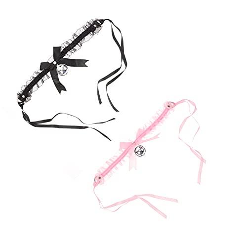 HEALLILY 2 Piezas de Encaje Campana Gargantilla Collares Conjunto Arco Collar Gargantilla Collar Coqueteo Sexual Accesorios para Pareja Juguete Ropa Accesorio