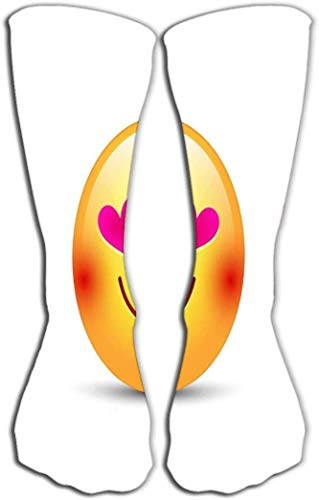 """Imprimir Calcetines hasta la rodilla 19.7""""(50cm) Tubo atlético sobre la pantorrilla emoticon cariñoso feliz cara ojos forman corazones amor sonríe cara cariñosa feliz"""