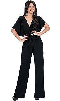 KOH KOH Womens Short Kimono Sleeve V-Neck Casual Sexy Wide Leg Long Pants One Piece Jumpsuit Jumpsuits Pant Suit Suits Romper Rompers Playsuit Black L 12-14