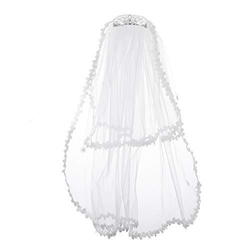 SOLUSTRE Velo de Novia Simple para Mujer con Corona Velo de Novia Tiara de Cristal de Las Muchachas de La Flor con El Velo de Múltiples Niveles Velo de Vestir para El Festival Accesorios