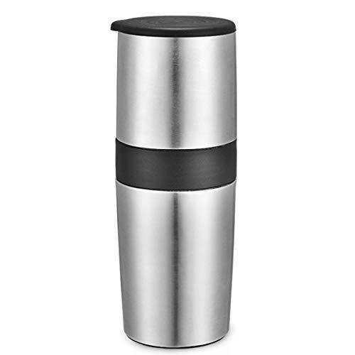 LTLWSH Przenośny ręczny młynek do kawy, 400 ml pojedynczy kubek ekspres do kawy ceramiczny młynek do kawy kubek regulowany z wbudowanym systemem mielenia i parzenia do podróży na kemping do biura, srebrny