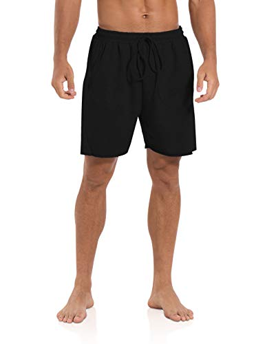 Agnes Urban Mens 5.7' Shorts Athletic Running Workout Casual Lounge Elastic Waist Active Gym Cotton Terry Shorts with Pockets Black