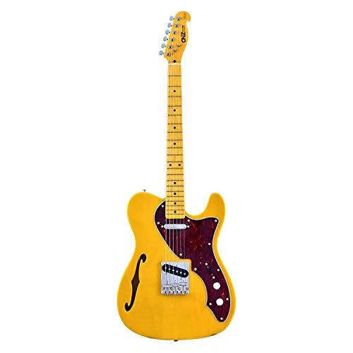 CNZ Audio Thinline TL Semi-Hollow Electric Guitar Butterscotch Blonde - Alder Body & Amber Gloss Maple Neck, 3-Ply Black Pickguard