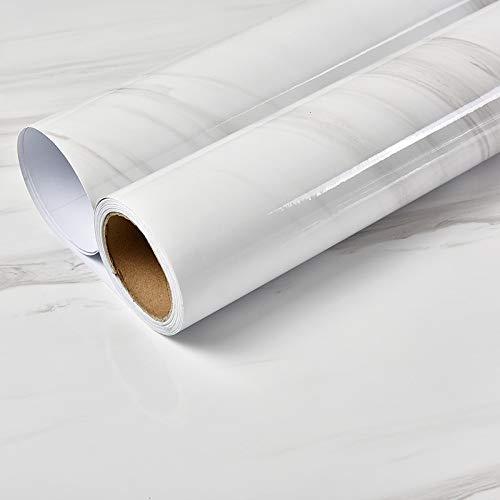 LZYMLG PVC wasserdicht Marmor selbstklebende Tapete Schlafsaal Schlafzimmer DIY Aufkleber Küche Wand Renovierung Aufkleber Öl Weiß B