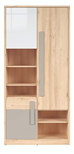Boardd - Estantería de 5 niveles con diseño de Namek para sala de estar, dormitorio, oficina, habitación de los niños, decoración icónica de haya/blanco brillante/gris, 95 x 198,5 x 38,5 cm