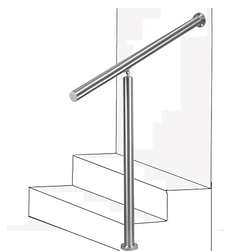 Handrails for Outdoor Steps, 304 Brushed Stainless Steel Handrail Railing Handrail Stair Rail 1-3 Step Outdoor Stair Railing