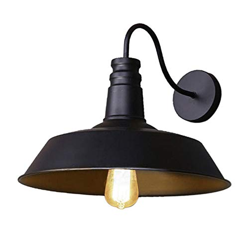 Loft-wandlamp, wandlamp, LED, loft-stijl, retro-stijl, Amerikaanse stijl, industrieel, met lampenkap van metaal, 26 cm