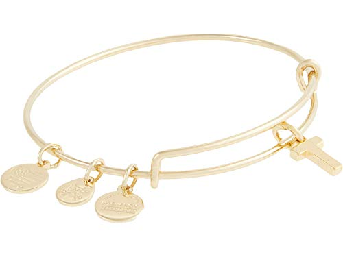 Alex and Ani Initial T III Bangle Bracelet Shiny Gold One Size