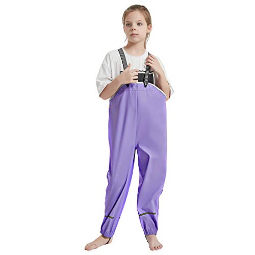 Kids Waterproof Rain Pants Dirty Proof Suspender Trousers for Boys and Girls Purple XXL (for 9-10Y)