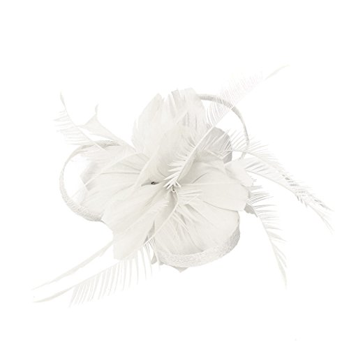 sharprepublic Vintage Feather Fascinator 1920's Great Hair Clips Brooach Pin White