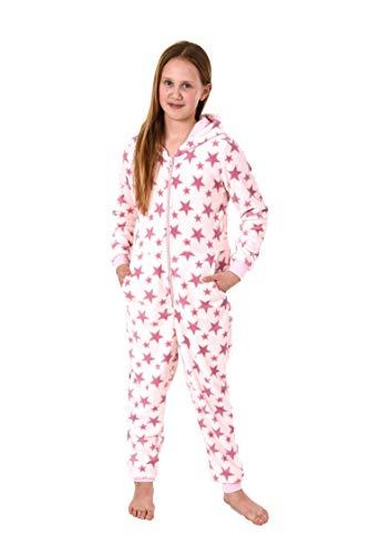 Meisjes jumpsuit overall pyjama lange mouwen - sterrenmotief - 271 467 97 002, Maat: 164, Kleur: roze