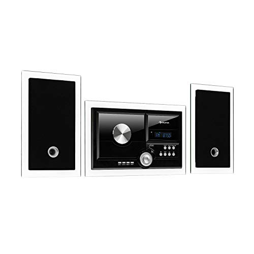 auna Stereosonic Microsystem, Stereo System, Micro System, 2 Stereo Speakers, Front-Loading CD Player, FM Tuner, Bluetooth, USB Port, Incl. Remote Control, Black