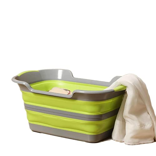 Multifuntional Niños Wash Tub Plegable Ropa Cesta Sundries Contenedor Pet Bañera (Gris Verde)