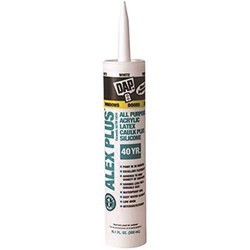 DAP 18152 White Alex Plus Acrylic Latex Plus Silicone Caulk, 10.1 oz.