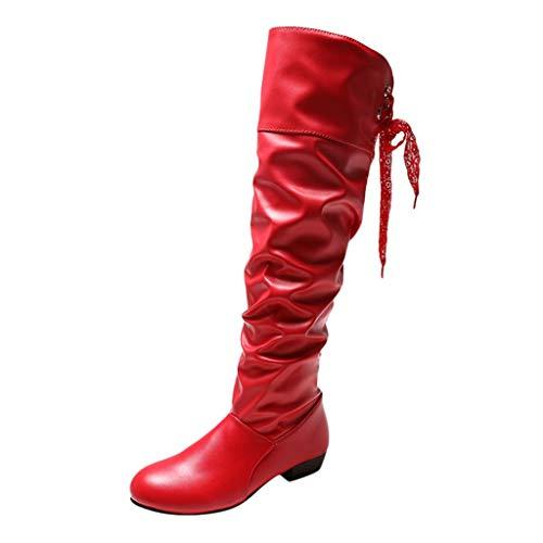 Hotopick dames warme knielaarzen lace riempje platte laarzen maat student schoenen boot Europese ijs mooheid winkel winterraftlaarzen platte schoenlaarzen op