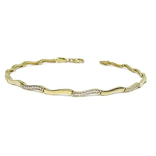 Pulsera de Oro amarillo de 18K para Mujer con Circonitas | 4.90 gramos Oro 1ª Ley | Joyería Fina Italiana | Regalo Aniversario