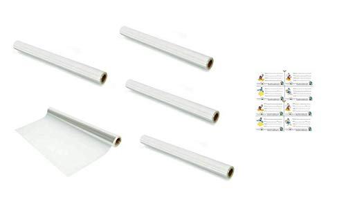 Quality Long Transparent Cover Roll for School Notebook/Book|| Protect from Dust and Water ( Pack of 5 Pcs ) Free - Free 8 Pcs Name Slips Self Adhesive