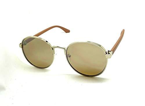 Gafas de sol para hombre y mujer, ovaladas gruesas Kim redondas, metal gaga espejo, marrón,