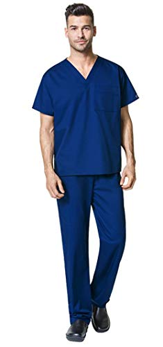 WonderWink WonderWORK Unisex V-Neck Scrub Top 100 & Drawstring Cargo Scrub Pant 500 Scrub Set (Galaxy Blue - X-Large - XXL Short)