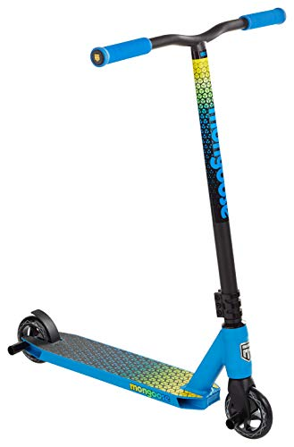 Mongoose Rise 100 Elite Youth and Adult Freestyle Kick Scooter, High Impact 110mm Wheels, Bike-Style Grips, Lightweight Alloy Deck, Blue/Yellow