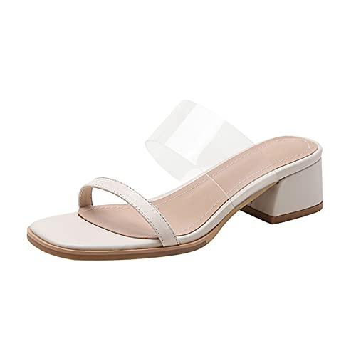 Sandalias Mujer Transparentes de Vestir Zapatos Mujer tacón Cuadrado cómodo Zapatillas Mujer Zapatos Verano Mujer Casual Aire Libre tacónes Transparentes Punta Abierta Sin Cordones
