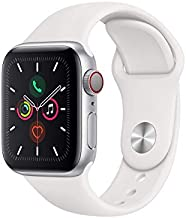 Apple Watch Series 5 (GPS + Cellular, 40MM) - Silver Aluminum Case with White Sport Band (Renewed)