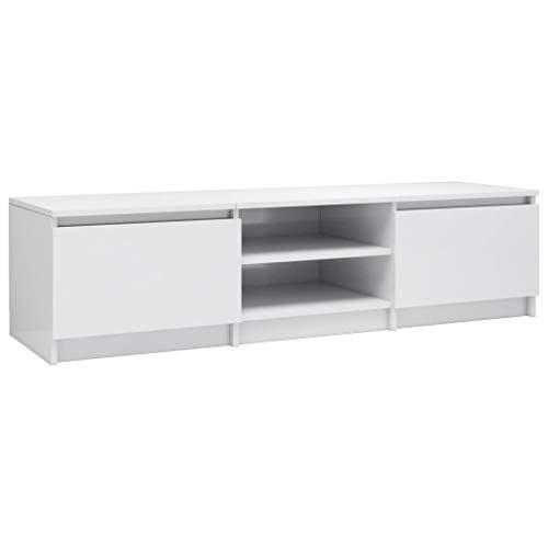 vidaXL TV Schrank mit 2 Schubladen 2 Fächern Lowboard Fernsehtisch Fernsehschrank TV Möbel Sideboard Hochglanz-Weiß 140x40x35,5cm Spanplatte