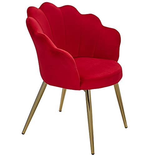 FineBuy Esszimmerstuhl Tulpe Samt Rot Gepolstert   Küchenstuhl mit Goldfarbenen Beinen   Schalenstuhl Skandinavisches Design   Polsterstuhl mit Stoffbezug
