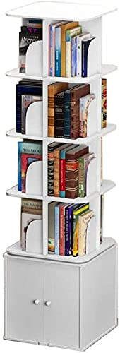 leoye Bokye - Estantería cuadrada giratoria con armarios para guardar espacio y espacio pequeño para CD, soporte de exhibición de grabación, (color: blanco, tamaño: 46 x 46 x 172 cm)