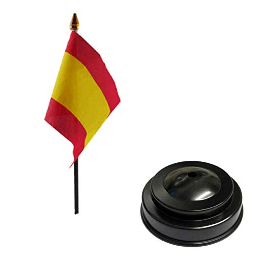 Flagmania Bandera de mesa de escritorio con base plana de plástico negro de 15 x 10 cm