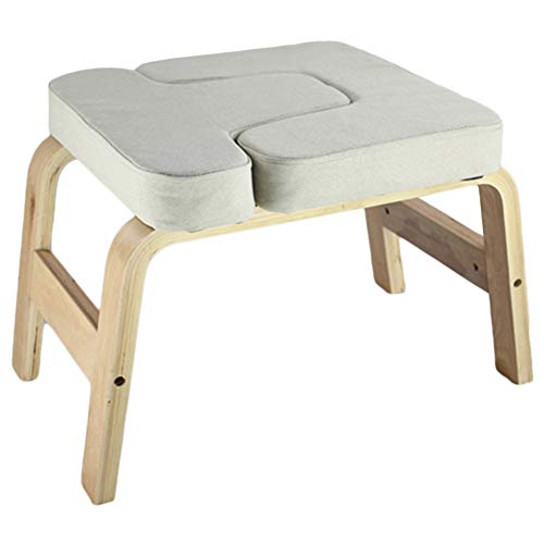 Best Deals! LXLA Solid Wood Inversion Stool Deluxe, Supports Up to 200kg, with Soft Breathable Linen...