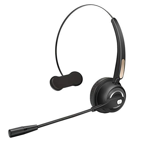 Esolom Cuffia Senza Fili Auricolare Bluetooth con Microfono Ruotabile e Potente Cancellazione di Rumore, Call Center Cuffie Ricaricabile e 12 Ore di Talk Time per PC Ufficio Telefono