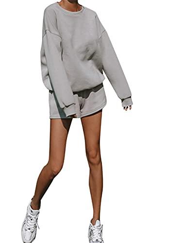 Conjunto de ropa de dos piezas para mujer con cuello redondo de manga larga y pantalones cortos de cintura elástica, gris, M