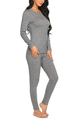Ekouaer Thermal Underwear for Women V Neck Pajamas Sleepwear Top with Pants Long Sleeve Pj Set Grey
