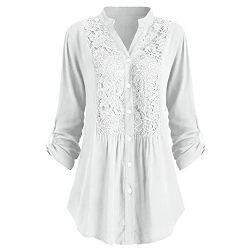 BLACKHEI Camisa de Blusas para Mujer Tallas Grandes Oficina de Encaje Tops Sueltos Elegantes y Blusa de Lino de algodón White XL