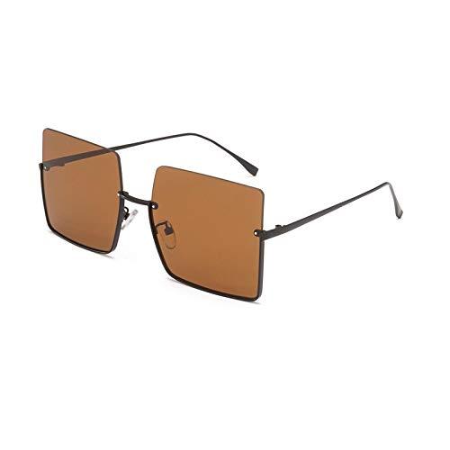 Gafas de Sol Gafas De Sol con Montura Media Sin Montura A La Moda para Mujer Y Hombre, Gafas Cuadradas con Degradado, Diseño De Marca, Gafas De Sol Semi-Sin Montura Retro para Mujer
