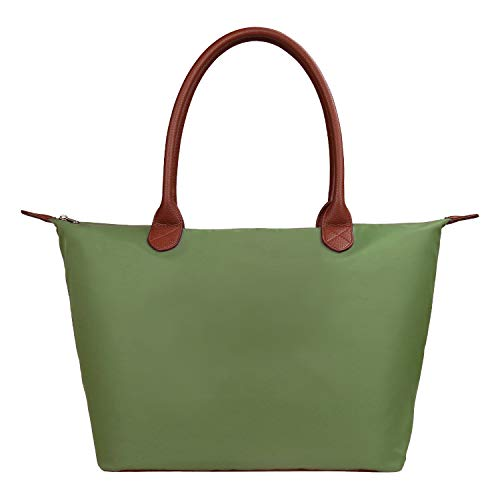 Women's Stylish Waterproof Tote Bag Nylon Travel Shoulder Beach Bags-ArmyGreen Color - Large Size