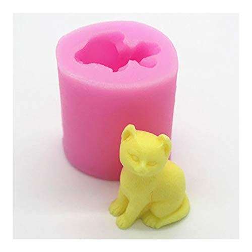 HONGTAI Cat 3D-Kerze-Form-Silikon-Form for Praline-Kuchen, Die Werkzeuge Kerze Seife Gips-Kuchen-Form-Fertigkeit-Werkzeug