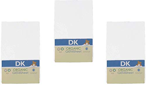 DK Glovesheets Three Fitted 83 x 50cm Crib Sheets 100% Organic Cotton - Compatible With The Next To Me Mattress - WHITE - 3 PACKS