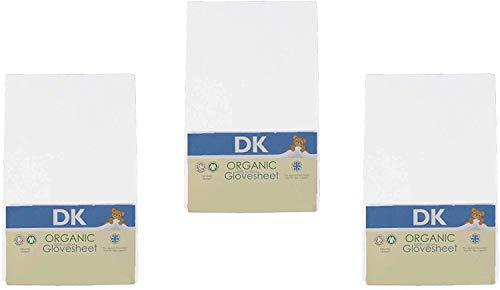 DK Glovesheets–Sábana bajera ajustable, 3 unidades, 83x 50cm, 100% algodón orgánico, compatible con el colchón Next To Me, colorblanco–3paquetes