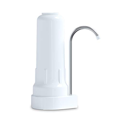 Ecosoft Countertop Water Filter System for Faucet Mount with Extra Filtration Cartridge - White