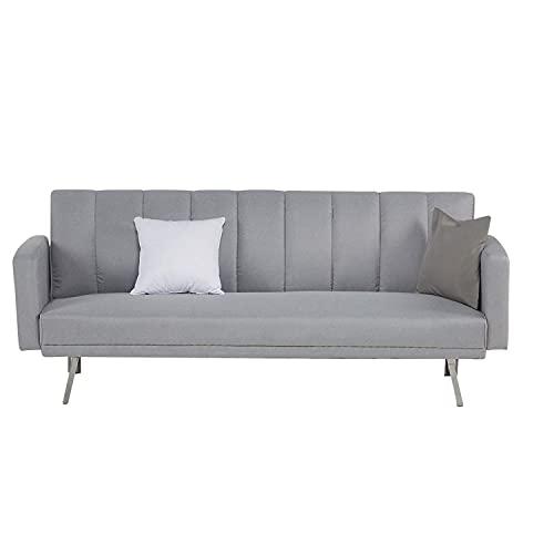 Homestyle4u 1995, Schlafsofa Grau 3 Sitzer Couch Sofa mit Schlaffunktion Polstersofa
