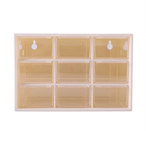 Cajón de escritorio, plástico portátil 9 celosías mini gabinetes de escombros cajón clasificación joyería caja de almacenamiento de cosméticos (blanco)