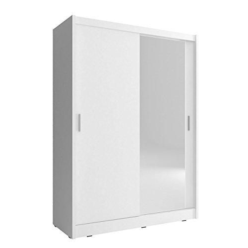 Mirjan24 Kleiderschrank Fibo 130, Schlafzimmerschrank mit Spiegel, 130 x 200 x 62 cm, Elegantes Schwebetürenschrank für Schlafzimmer, Jugendzimmer, Schiebetür (Weiß)