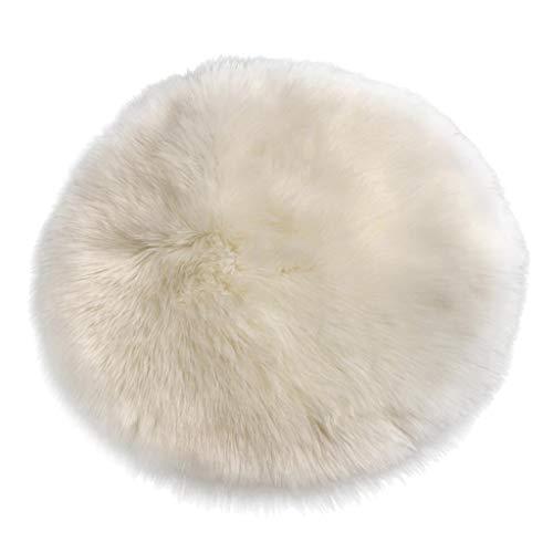 Sharplace Tapis Artificiel en Peau de Mouton Fausse Fourrure Conception Écologique Carpette Coussin de Siège - Blanc