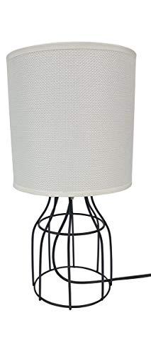Lampara Mesa Geometrica - Forja - 15 x 30 cm - lampara de mesa moderna para salón dormitorio estudio (Blanca)