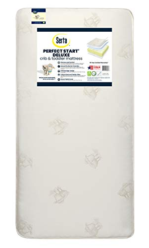 Serta Perfect Start Deluxe Fiber Core/Foam Crib and Toddler Mattress | Waterproof | GREENGUARD Gold Certified | Trusted 35 Year Warranty | Made in The USA
