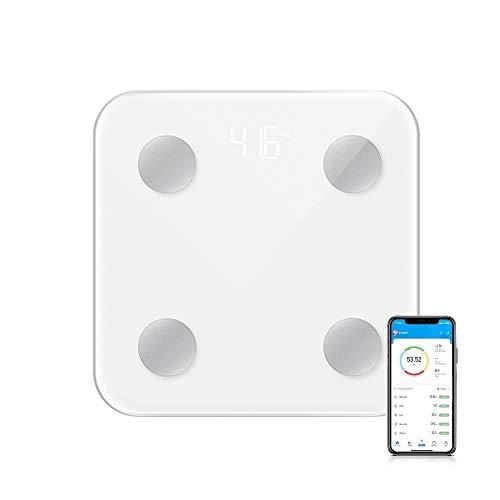 DQST Báscula Digital Corporal y Muscular,Balanza Inteligente, 17 Datos Analizados, Conexión via Bluetooth al App, Precisión Hasta 0.1Kg, Soporta Recordar Datos de 8 Usuarios (Blanco)