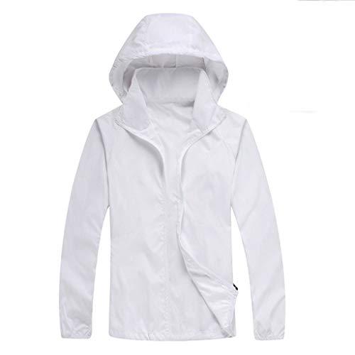 Sannysis Sommerjacke Unisex Leichte Jacke Regenjacken Damen Outdoor Rain Freizeitjacke Herren Sonnenschutz Wasserdicht Kapuze Pullover Camping Angeln Weiß XL