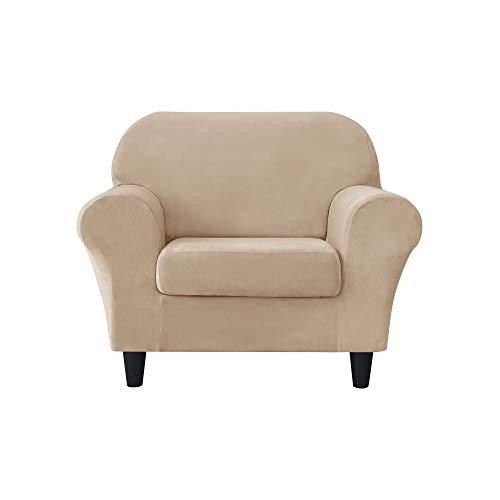 MILARAN Samt-Sofa-Schonbezug, weicher Stretchbezug, 2-teilig, hoher Spandex, Möbelschutz für Wohnzimmer (1-Sitzer, Beige)